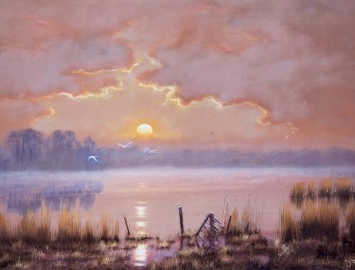 Moonrise - Hardley Flood