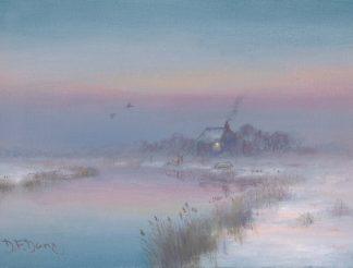 Winter Evening Marsh Cottage